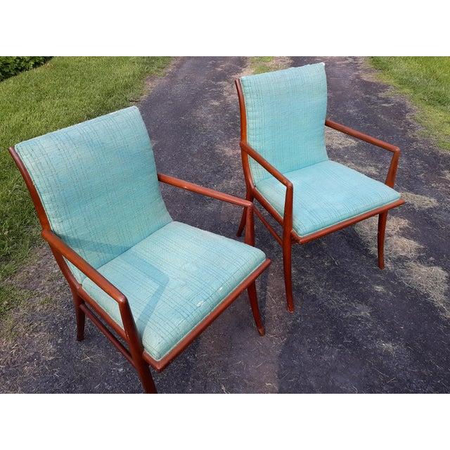Widdicomb Vintage Mid Century T.H. Robsjohn Gibbings for Widdicomb Saber Leg Armchairs- Set of 4 For Sale - Image 4 of 13