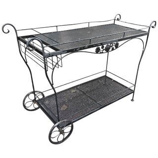 Vintage Woodard Black Iron Bar Cart For Sale