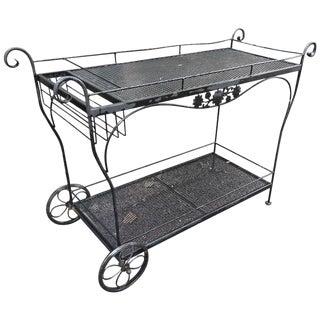 Vintage Woodard Black Iron Bar Cart For Sale