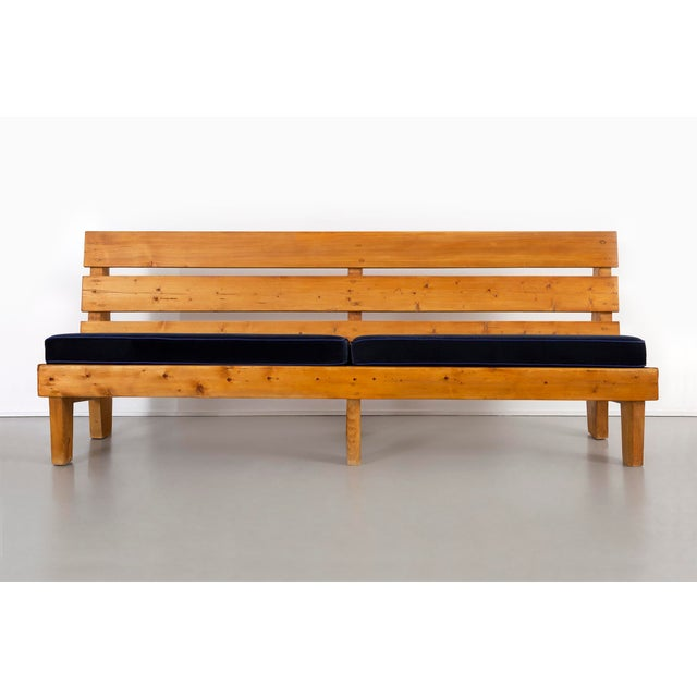 bench designed by Charlotte Perriand for Marie Blanche Hotel, Méribel France, c 1950s reupholstered in mohair + leather +...