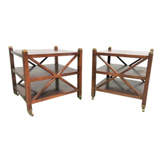 Sherrill Regency Style Cherry Side Tables - a Pair For Sale