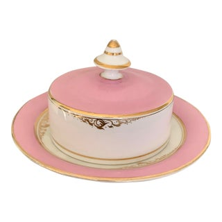 Vintage Gilt White and Pink Round Covered Porcelain Dish For Sale
