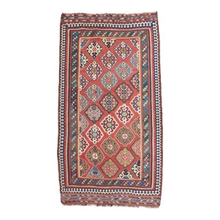 Late 19th Century Persian Qasqhai Kilim Rug - 5′4″ × 9′11″ For Sale