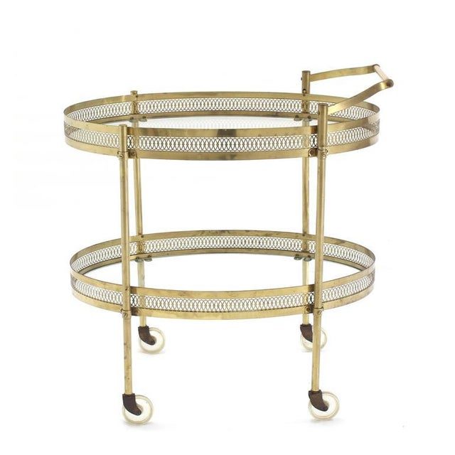 Gold Oval Pierced Brass & Glass Two-Tier Tea Serving Cart on Wheels For Sale - Image 8 of 8