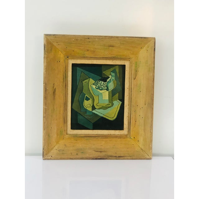 """Green 1940s Vintage Juan Gris """"Grapes"""" Still Life Lithograph on Plaster For Sale - Image 8 of 9"""