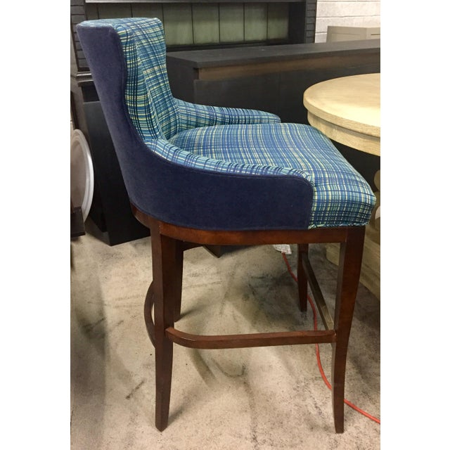 Traditional plaid Barstools with bBlue velvet on the back adds a certain preppy touch to your bar. Durable and comfortable.