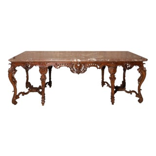 18th Century French Rococo Marble Top Console Table For Sale