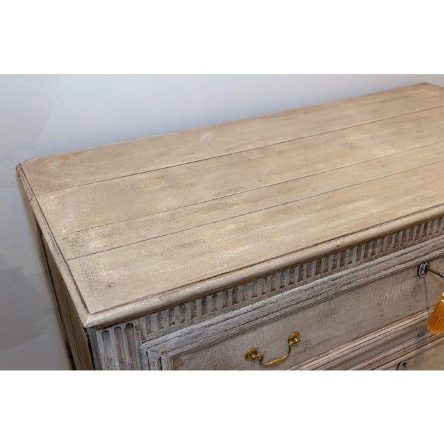 Discovered during our recent travels in France, this large chest of drawers features three solidly constructed drawers...