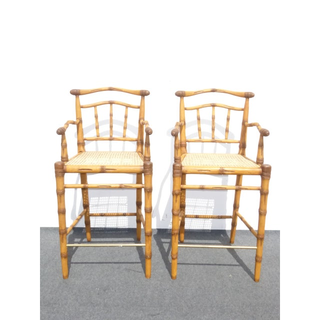 Mid-Century Modern Faux Bamboo Bahama Style Bar Stools - A Pair For Sale - Image 3 of 11