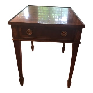 Traditional Heckman Flamed Mahogany and Inlaid Wood Side Table For Sale