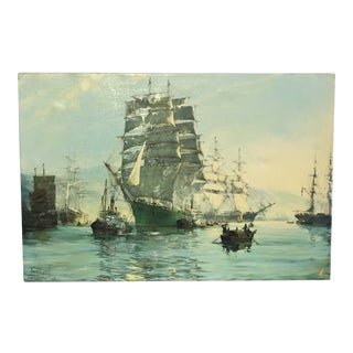 Canvas Ship Print Signed by Montague Dawson For Sale