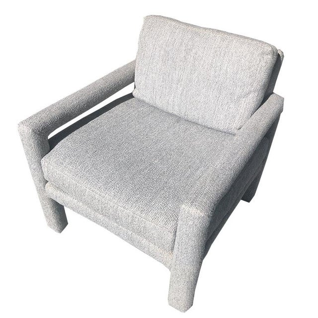 Contemporary Milo Baughman Mid Century Vintage Gray Parsons Armchair With Cushions by Drexel For Sale - Image 3 of 10