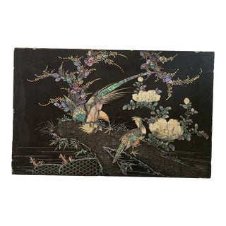 Antique Asian Chinoiserie Black Lacquer and Mother of Pearl Inset Bird Artwork For Sale