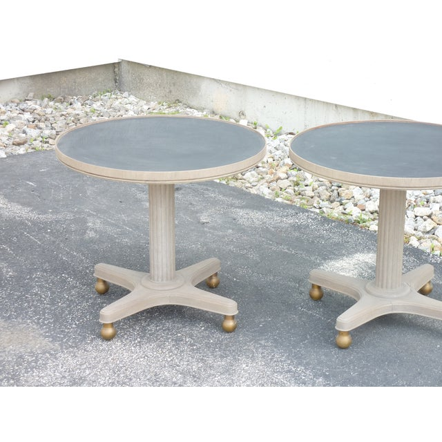 Mid-Century Modern Mid-Century Modern Gray Wooden Round Tables - a Pair For Sale - Image 3 of 8