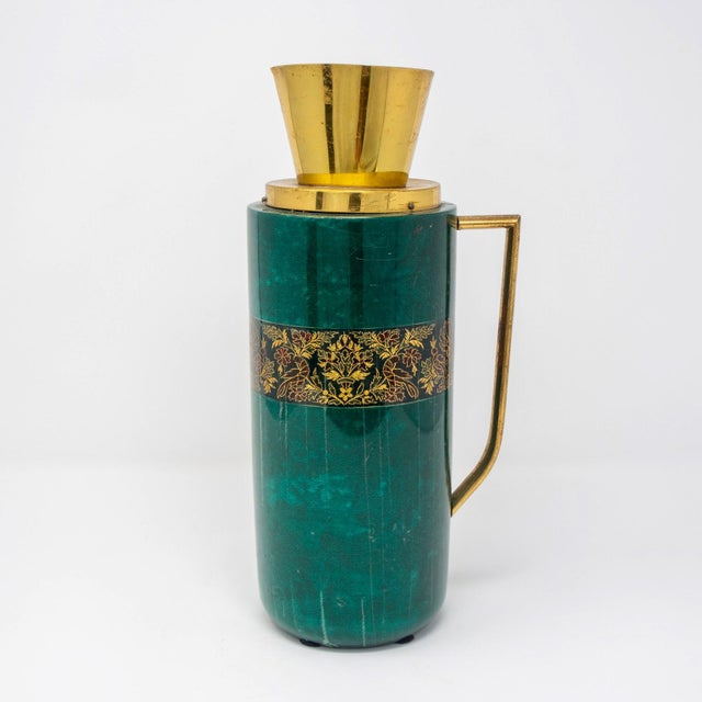 Italian Green Leather and Brass Decanter by Aldo Tura for Macabo For Sale - Image 12 of 12