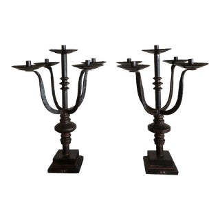 Jan Barboglio Hand-Forged Iron 5-Arm Candelabras - a Pair For Sale