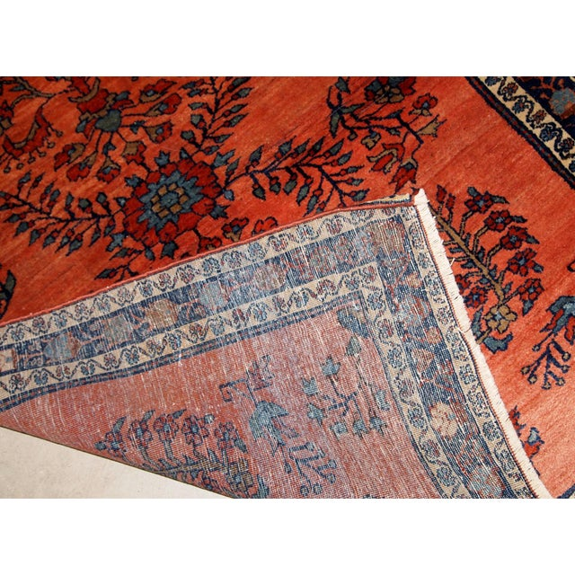 Red 1900s Handmade Antique Persian Sarouk Rug For Sale - Image 8 of 9