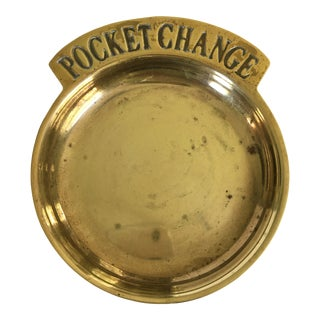 """Mid Century Solid Brass """"Pocket Change"""" Dish/Catchall For Sale"""