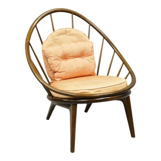 1950s Vintage Ib Kofod Larsen Selig Danish Modern Walnut Peacock Hoop Spindle Lounge Chair For Sale