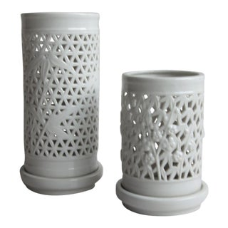 Mid-Century Chinoiserie Blanc De Chine Pierced Porcelain Hurricane Candle Lanterns - a Pair For Sale
