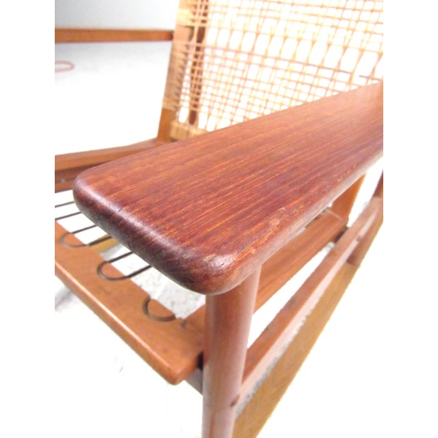 Wood Scandinavian Modern Teak and Cane Rocking Chair by Hans Olsen For Sale - Image 7 of 13
