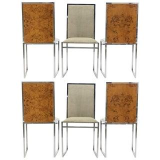 Set of Six Midcentury Chairs Metal Arredo Milan Chrome Burl, 1970s For Sale