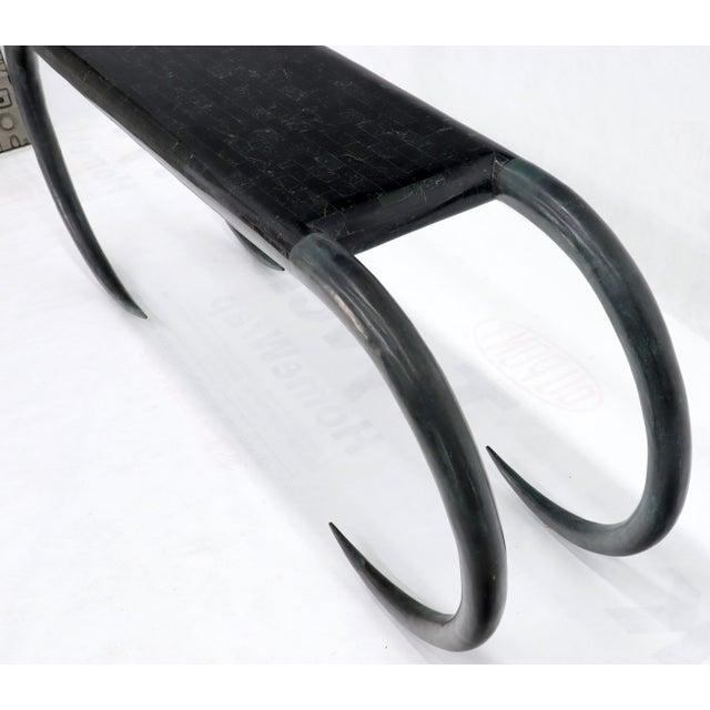 Tessellated Stone Veneer Tile Console Sofa Table on Tusk Shape Legs For Sale - Image 10 of 13