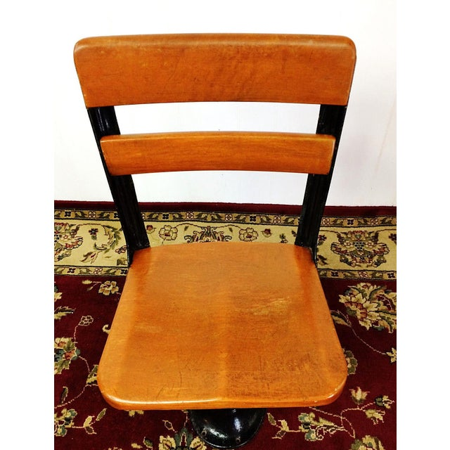 Cast Iron Antique American Seating Cast Iron Student School Desk & Chair For Sale - Image 7 of 10