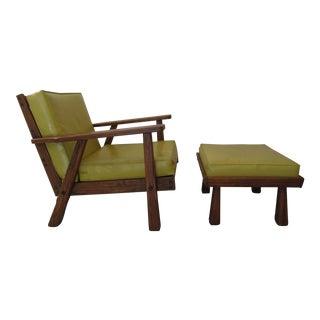 Brandt Ranch Oak Lounge Chair & Ottoman