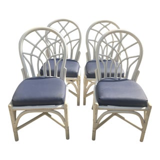 Vintage Rattan Bamboo Fretwork Dining Chairs - Set of 4 For Sale