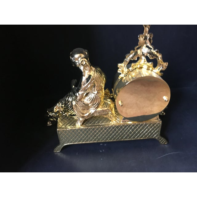 Italian Polish Brass Mantel Clock Statue of a Woman For Sale In New York - Image 6 of 7