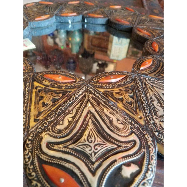 Islamic Moroccan Resin and Camel Bone Inlaid Round Mirror For Sale - Image 3 of 5