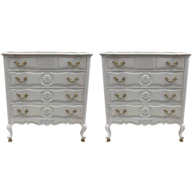 Pair of French Country Style Marble Top Commodes For Sale