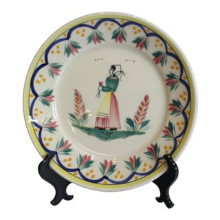 Quimper French Hand Painted Plate For Sale