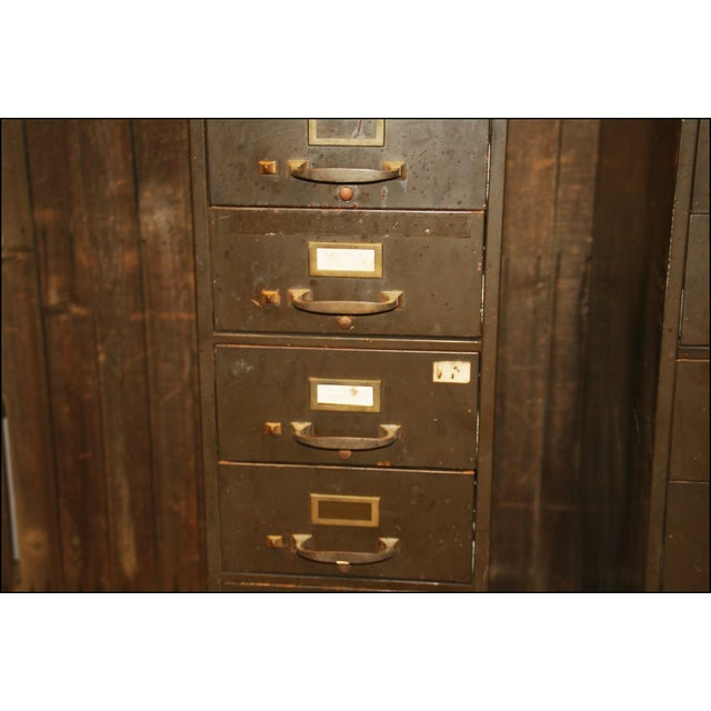 Vintage Industrial Metal Filing Cabinets - Pair - Image 8 of 11