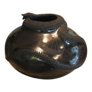 Artist Signed Oaxaca Pottery Cobra Snake Vase