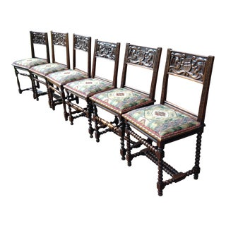 1684 French Chateau Renaissance Dining Side Chairs - Set of 6 For Sale