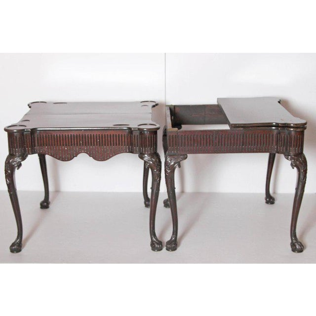 Brown Pair of Irish Chippendale Carved Mahogany Concertina Card Tables For Sale - Image 8 of 12