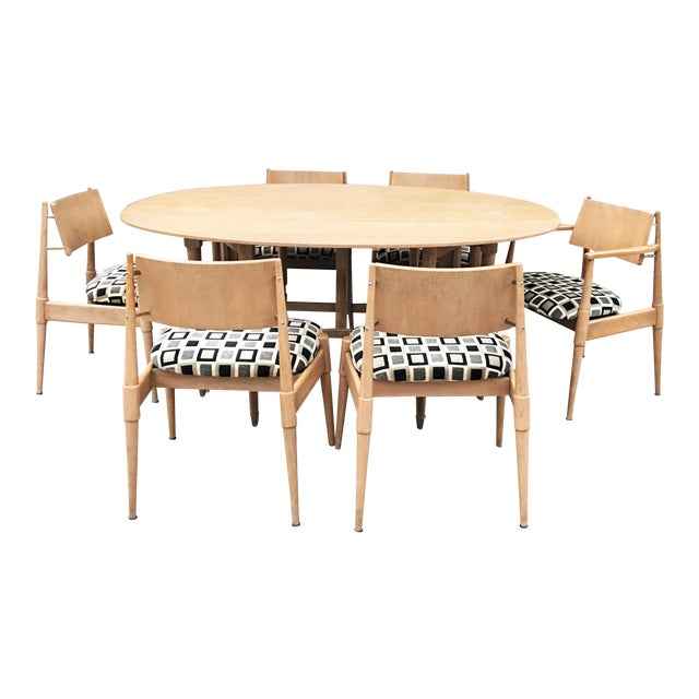 Mid-Century Modern Dining Table With Six Chairs