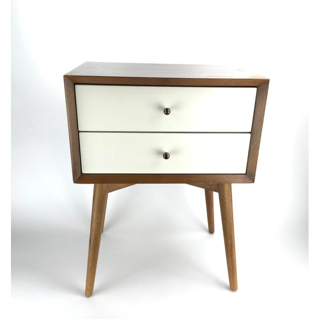 Mid-Century Modern West Elm Mid-Century Style Two-Tone Nightstand Side Table For Sale - Image 3 of 9