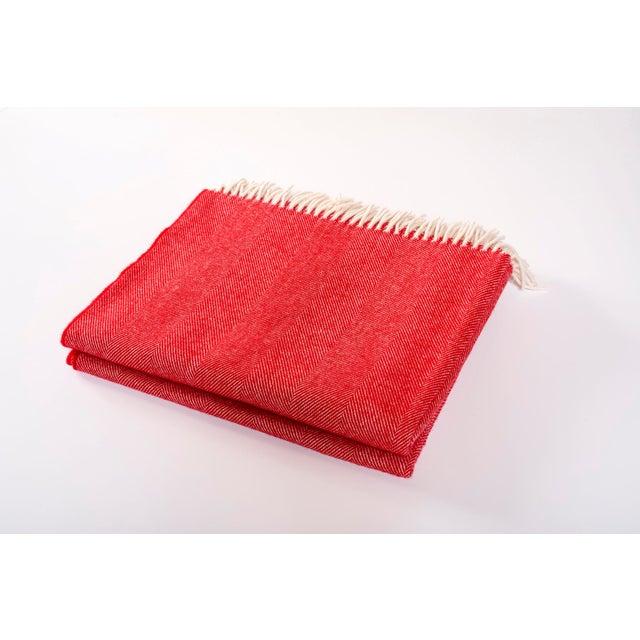 Modern Merino Wool Collection Crimson Throw For Sale - Image 4 of 4