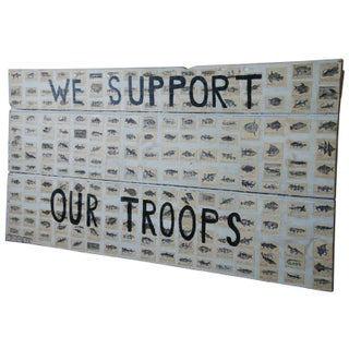 We Support Our Troops Original Decoupage by Jacques Flechemuller Mixed Media For Sale