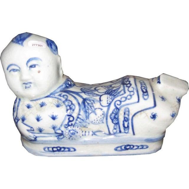 Blue & White Ceramic Head Rest - Image 2 of 3
