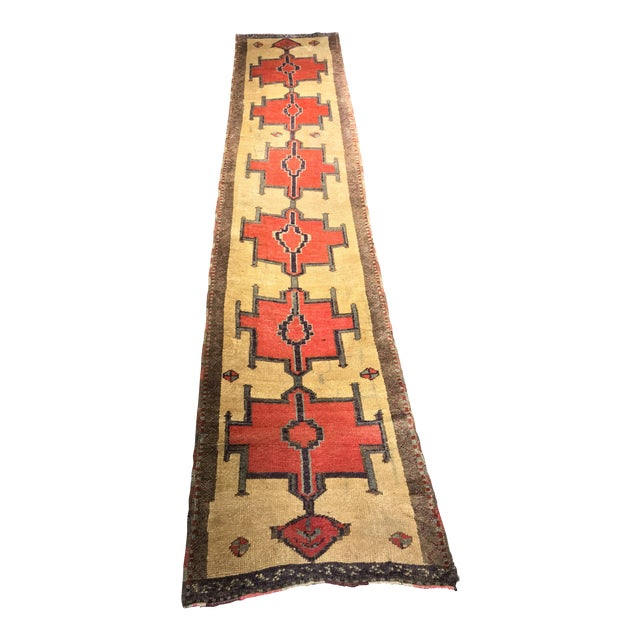 Bellwether Rugs Tribal Pattern Vintage Turkish Oushak Rug - 2′10″ × 12′3″ - Image 1 of 11