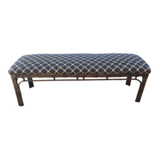 1990s Vintage Henredon Long Upholstered Rattan Bench For Sale