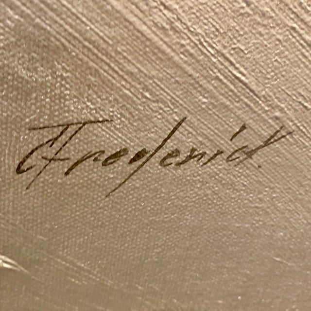 Metal Vintage Mid-Century C. Frederick Metallic Abstract Painting For Sale - Image 7 of 9