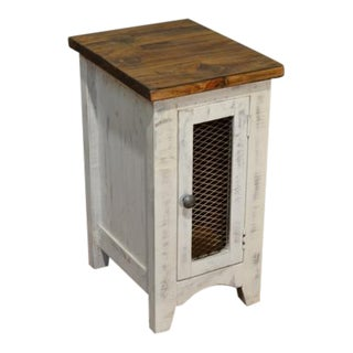Crafters and Weavers Greenview One Door Side Table - Distressed White For Sale