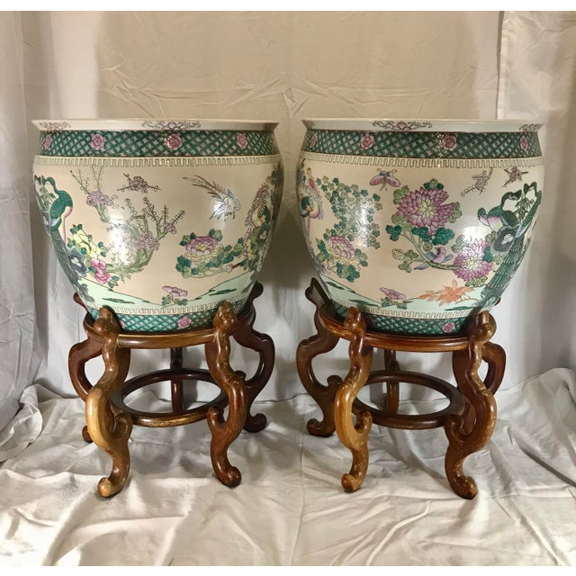 Asian 20th Century Chinese Qing Famille Verte Porcelain Jardinieres / Planters - a Pair For Sale - Image 3 of 13