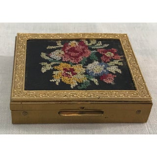 Vintage Needlepoint Top Brass Powder Box Preview