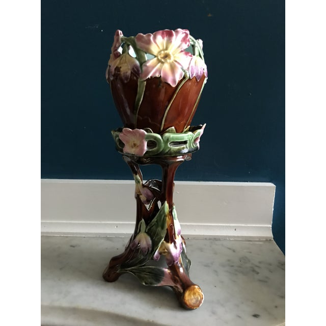 Majolica Art Nouveau Bowl or Planter on Pedestal For Sale In Boston - Image 6 of 7